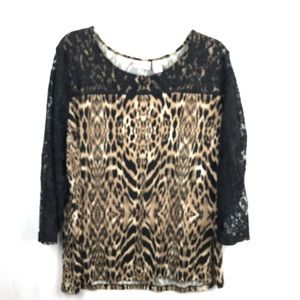 Chico's animal print and lace top size 3